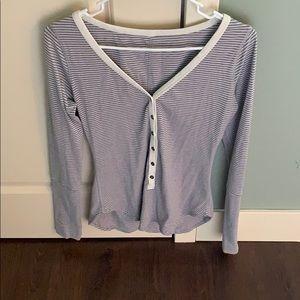 Lululemon Athletica Striped Henley Long-Sleeve